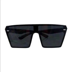 Matte black Oversized Square Fashion sunglasses